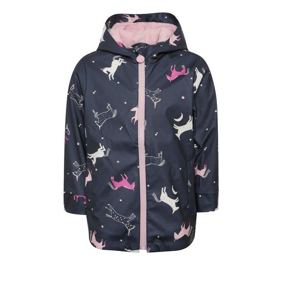 Jacheta impermeabila bleumarin cu print unicorn pentru fete Tom Joule