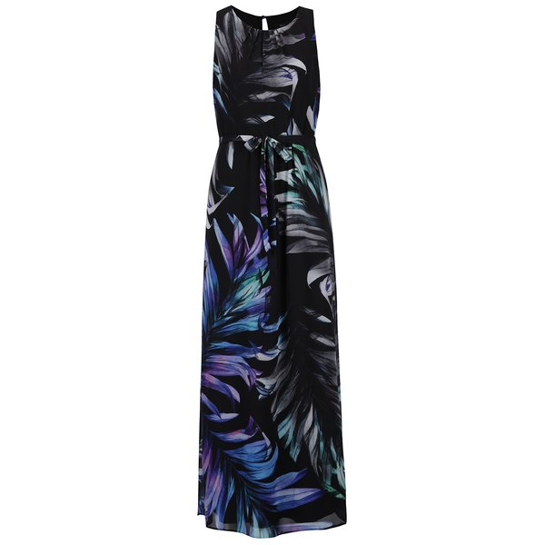 Rochie neagră maxi cu imprimeu floral - M&Co