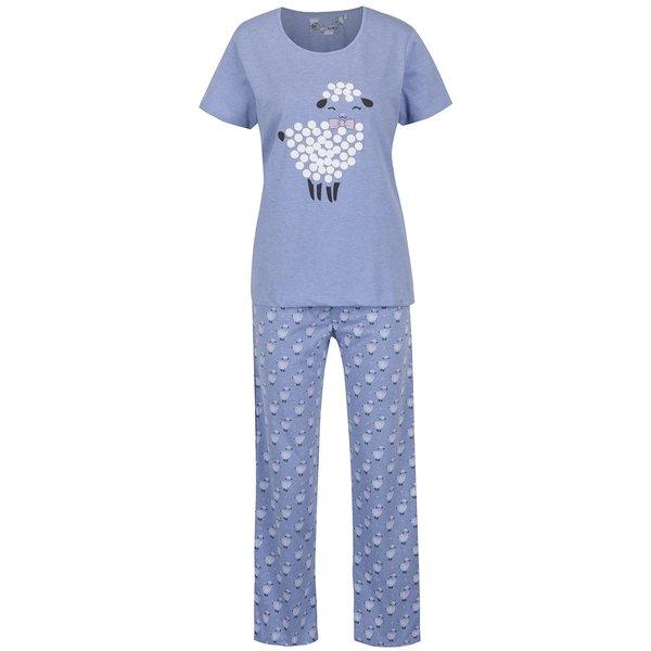 Pijama bleu cu mânecă scurtă și pantaloni lungi - M&Co