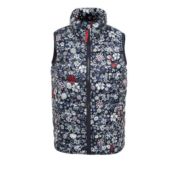 Vesta bleumarin matlasata cu print floral pentru fete Tom Joule