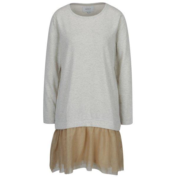Pulover - rochie gri melanj cu detaliu bej din chiffon - ONLY Danila