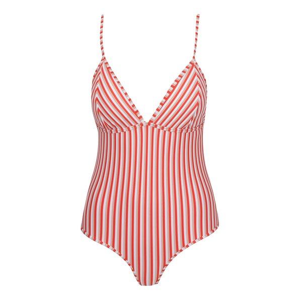 Costum de baie întreg crem&roșu cu dungi Y.A.S Cayenne