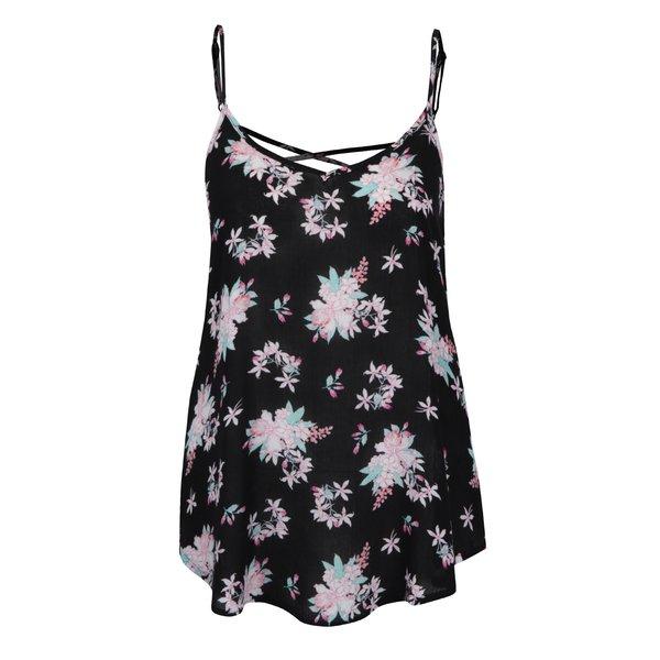 Top negru cu model floral și bretele subțiri TALLY WEiJL de la TALLY WEiJL in categoria maiouri