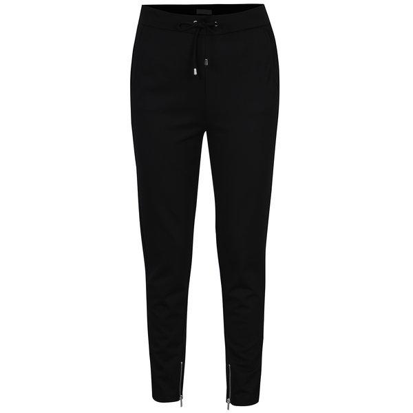 Pantaloni negri drepți cu șnur în talie - VILA Riasta