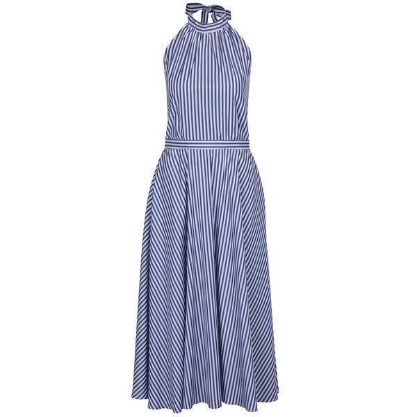Rochie albastra cu dungi si funda la spate Aer Wear