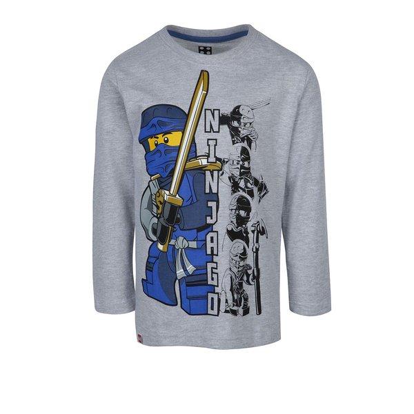 Bluză gri cu print frontal și mâneci lungi pentru băieți de la Lego Wear in categoria Tricouri, camasi