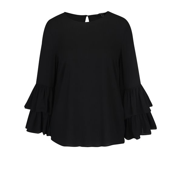 Bluză neagră cloș cu mâneci clopot VERO MODA Dellie