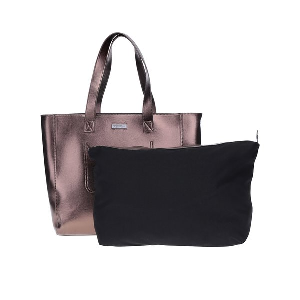 Geantă shopper bronz metalic aspect 2 în 1 – Superdry Elaina de la Superdry in categoria genți mari