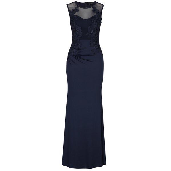 Rochie lungă bleumarin cu flori brodate – AX Paris de la AX Paris in categoria rochii de seară