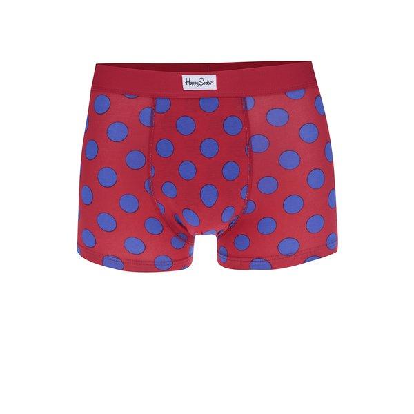 Boxeri roșii cu model cu buline albastre Happy Socks Big Dot de la Happy Socks in categoria Lenjerie intimă, pijamale, șorturi de baie