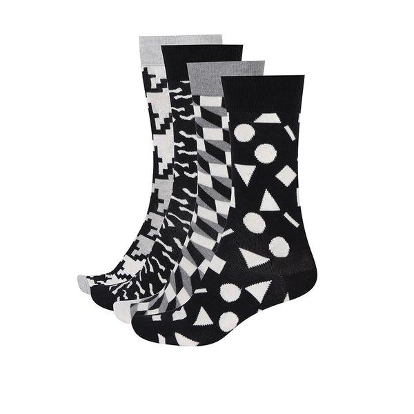 Set monocrom cu 4 perechi de șosete cu imprimeu pentru bărbați Happy Socks Black&White de la Happy Socks in categoria BĂRBAȚI