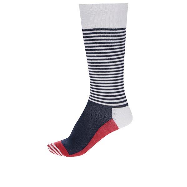 Sosete unisex alb & bleumarin - Happy Socks Compression Half Stripe