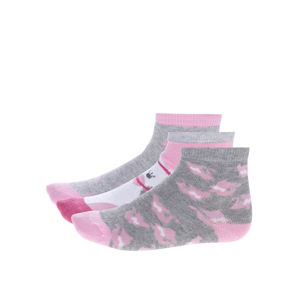 Set de 3 perechi de sosete roz & gri pentru fete – 5.10.15.