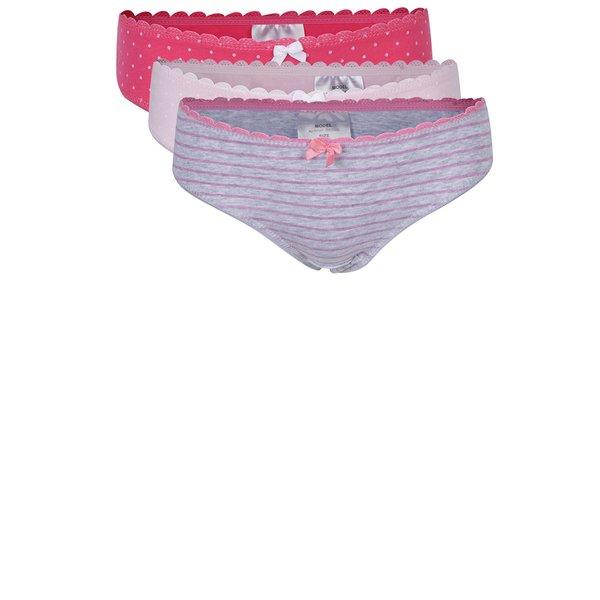 Set de 3 perechi de chiloti roz pentru fete - 5.10.15.