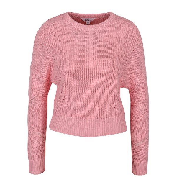 Pulover tricotat cu perforații roz - Miss Selfridge