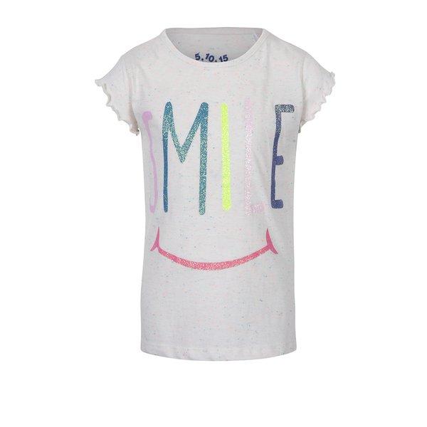 Tricou crem cu print cu sclipici pentru fete - 5.10.15.