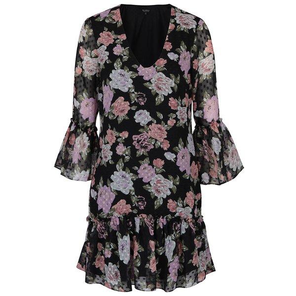 Rochie neagră cu flori și volane - Miss Selfridge