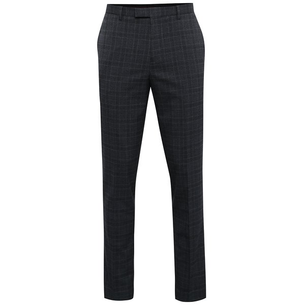Pantaloni gri de costum cu model in carouri Burton Menswear London