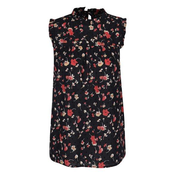 Bluză neagră cu model floral Dorothy Perkins