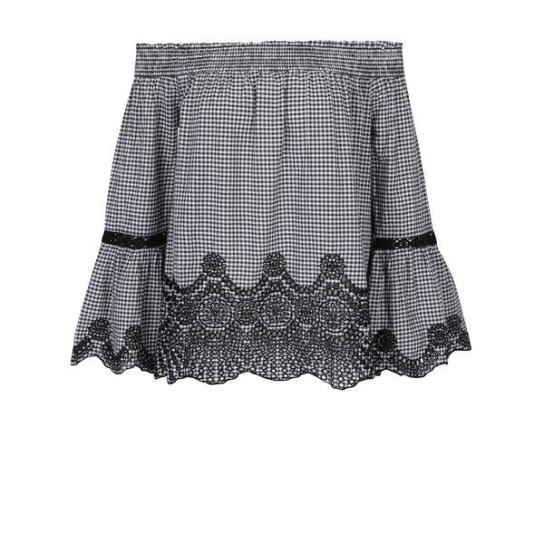Bluză ecosez cu decupaj pe umeri alb & negru - Miss Selfridge
