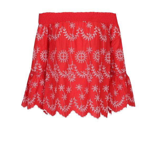 bluza rosie cu decolteu pe umeri si broderie – Miss Selfridge
