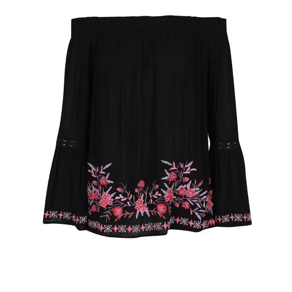 Bluză neagră cu broderie și mâneci evazate - Miss Selfridge