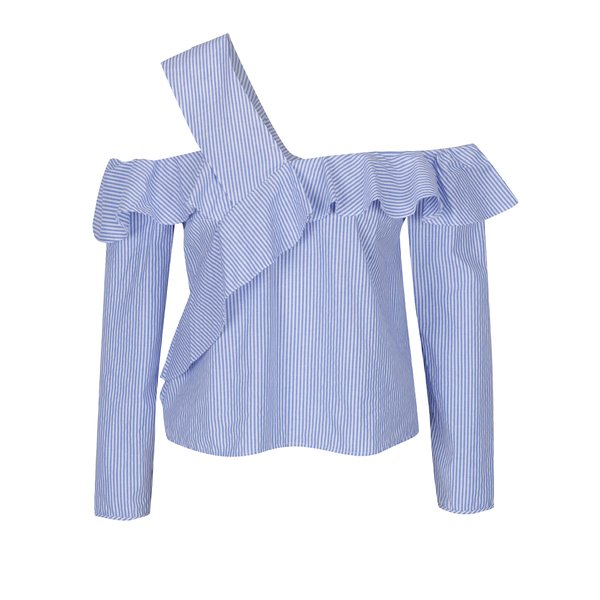 Bluză crem & albastru cu decolteu pe umeri - Miss Selfridge Petites
