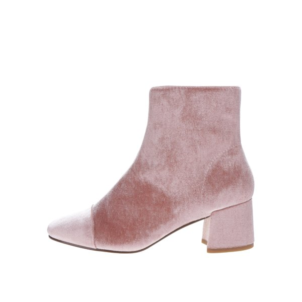 Botine din catifea roz pudrat - Miss Selfridge
