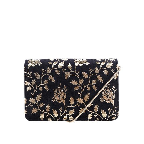 Geanta plic crossbody neagra cu aplicații florale aurii - Miss Selfridge