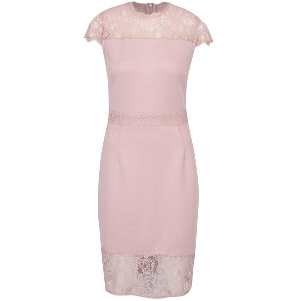 Rochie midi roz pal cu inserții din dantelă Dorothy Perkins