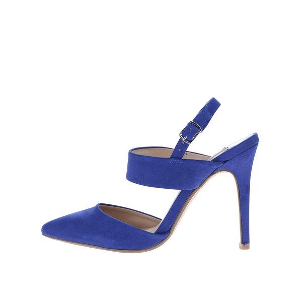 Sandale albastre cu toc și călcâi decupat Dorothy Perkins