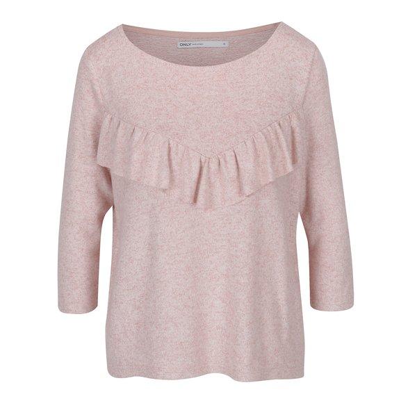 Pulover roz pal cu volane - ONLY Maye