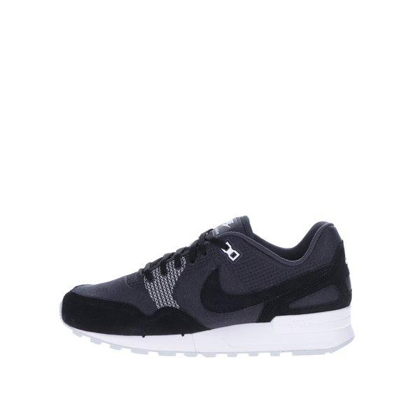 Pantofi sport negri cu gri cu detalii din piele pentru barbati Nike Air Pegasus
