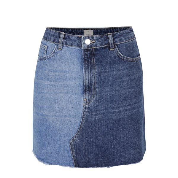 Fusta mini din denim in doua nuante French Connection Allene