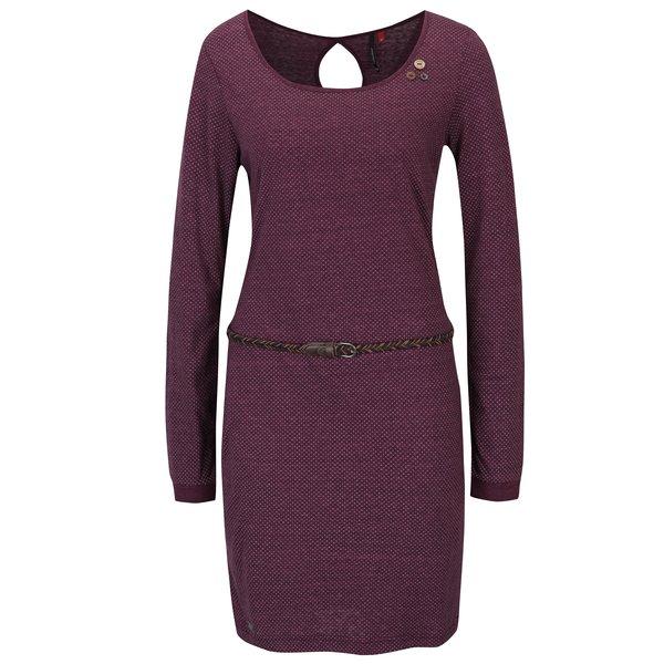 Rochie violet cu model pepit și mâneci lungi Ragwear Loco