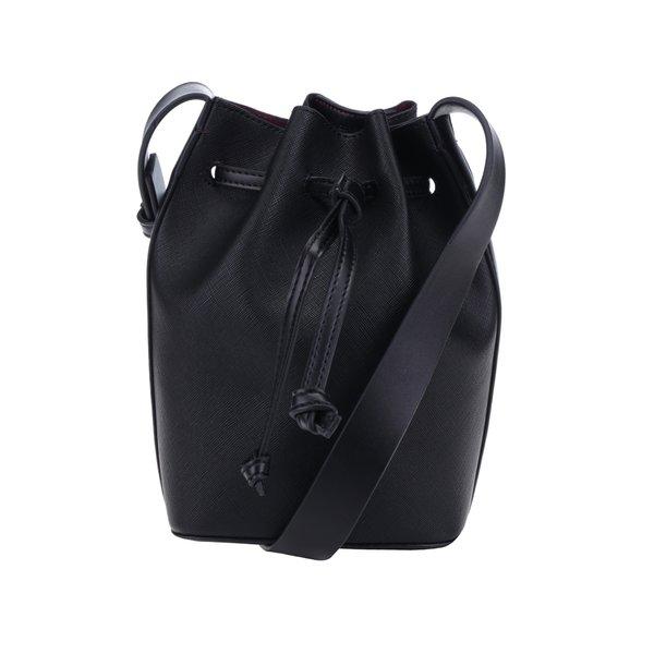 Geantă neagră bucket French Connection Saffiano Chelsea