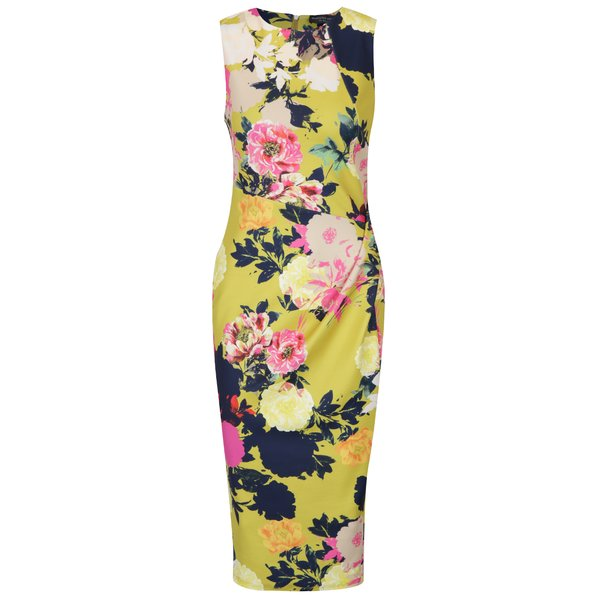 Rochie galbenă cu flori și model asimetric Dorothy Perkins Tall
