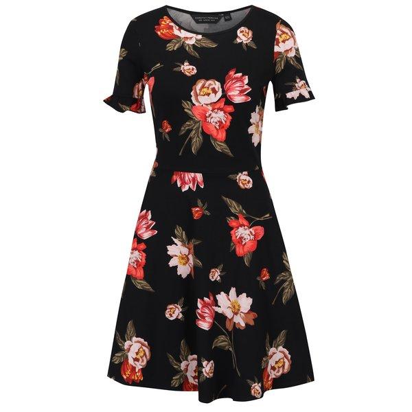 Rochie midi neagra cu print floral Dorothy Perkins