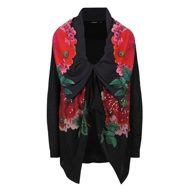 Cardigan negru cu flori si guler sal Desigual Anna