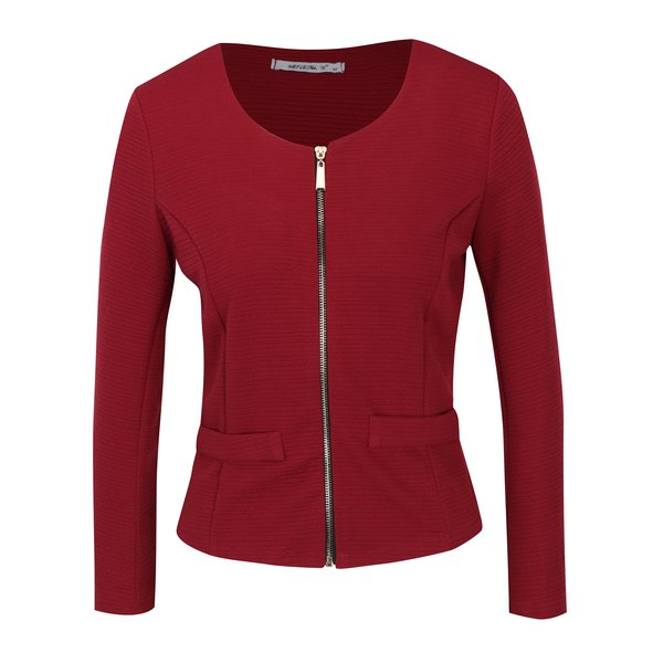 Jachetă subțire roșie cu fermoar Hailys Sara