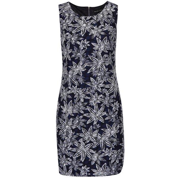 Rochie tubulară bleumarin cu imprimeu cu frunze - Mela London