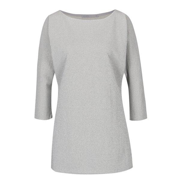Bluză gri din mătase cu mâneci trei sferturi Soolista