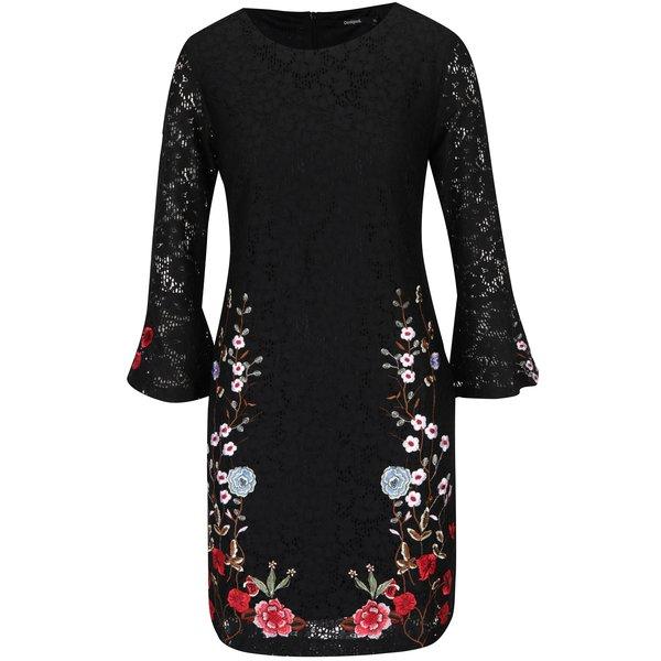 Rochie neagră din dantelă cu flori Desigual Vermond