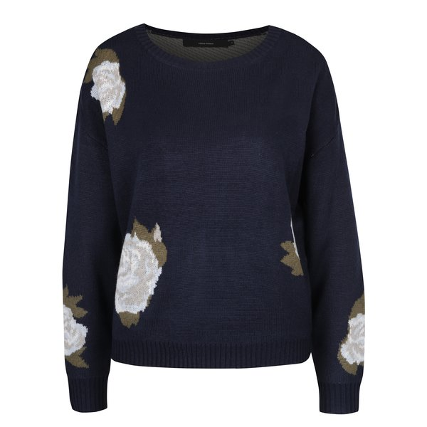 Pulover tricotat bleumarin cu flori – VERO MODA Belmont