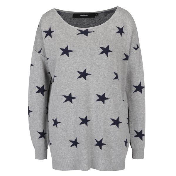 Pulover gri din jerseu cu imprimeu cu steluțe VERO MODA Dotty