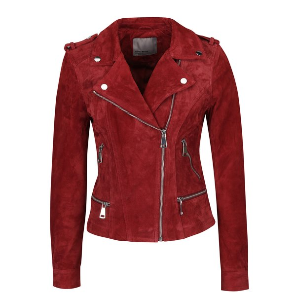 Jacheta biker rosie din piele intoarsa - VERO MODA Royce