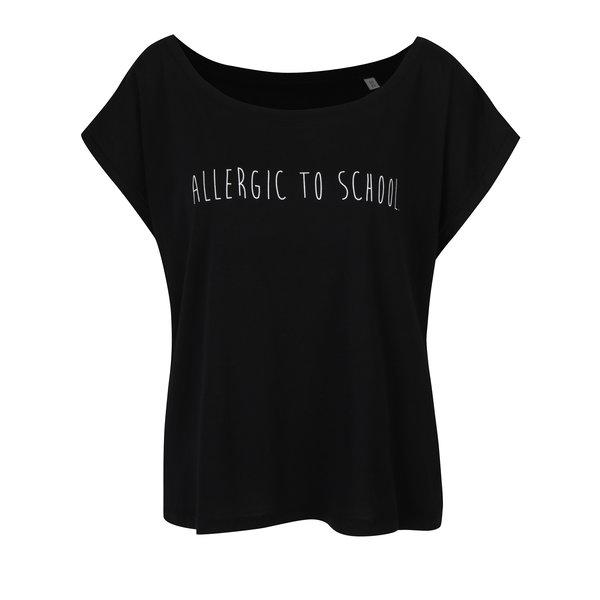 Tricou negru cu mesaj din bumbac organic - ZOOT Originál Allergic to school