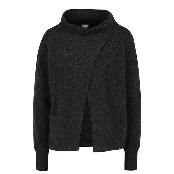 Bluză gri suprapusă cu guler înalt din amestec de lână - DEHA