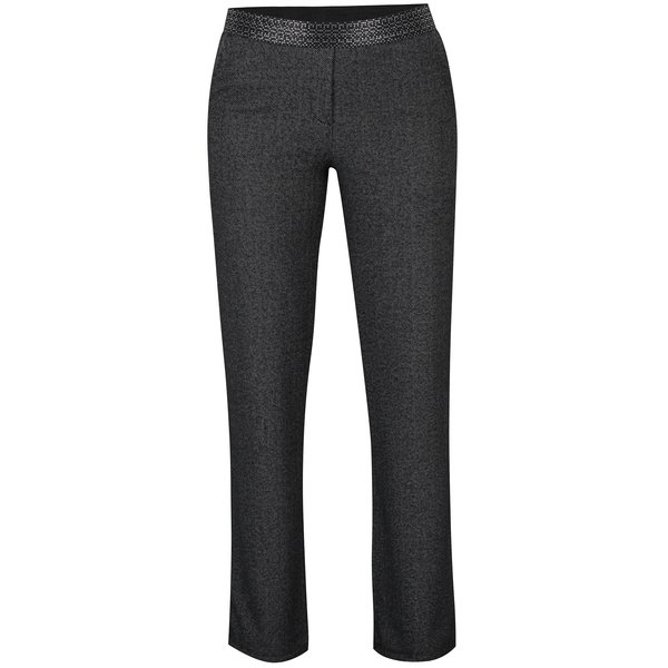 Pantaloni gri închis cu model herringbone - DEHA