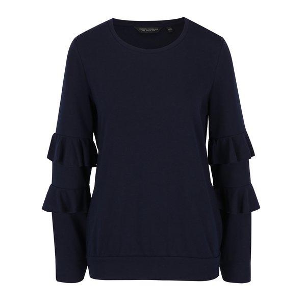 Bluză bleumarin cu mâneci lungi și volănașe Dorothy Perkins